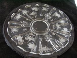 """Fostoria Lido Etched Torte Plate Flower 14"""" Sunburst - $41.22"""