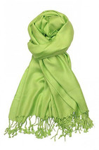Green Apple Fashion Pashmina Shawl Scarf 64 x 28 inches Tassels Womens - $9.11