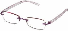 Foster Grant Dani Daniella Rimless Purple Reading Glasses Readers w/ Cas... - $14.33