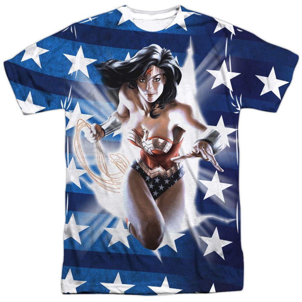 Primary image for JLA Justice League of America Wonder Woman USA Flag Sublimation Front T-shirt