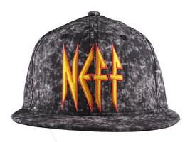Neff Sombreros Leopardo Negro Neff Rock Logo Snapback Gorra Béisbol F13018 Nwt