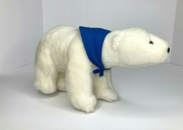 "Aurora Plush Polar Bear White 2010 Blue Handkerchief Titanic abt 10""X6"" ... - $11.96"