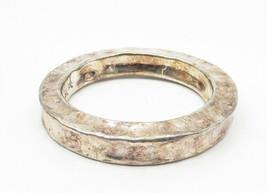 BAT-AMI ISRAEL 925 Silver - Vintage Hollow Hammered Bangle Bracelet - B6276 image 2