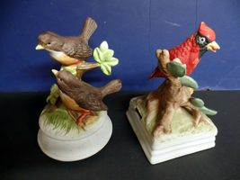 Arnart Gorham Bird bisque porcelain music box pair image 3
