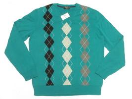 $75 NWT Mens Club Room Argyle Cotton V-Neck Sweater Ocean Pine Teal Size... - €21,40 EUR