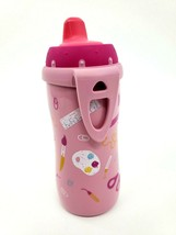 Nuk Active Cup 10oz 8M+ Silicone Soft Spout W Cover Pink Girls Paint Sippy - $8.99
