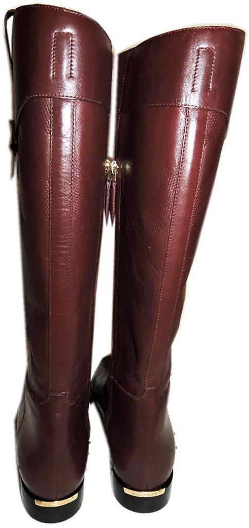 06c822dcf300b  1095 Burberry Copse House Check Print Burgundy Flat Tall Boots 36 Booties