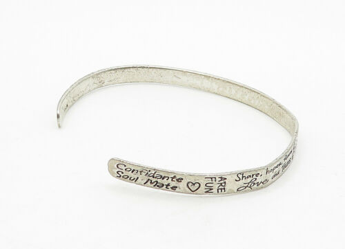 925 LA Silver - Vintage Etched Forever Friends Thin Cuff Bracelet - B6320 image 3
