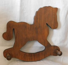 Vintage Wooden Rocking Horse with 2 Pegs: Hand-crafted Wall Hanger
