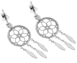 18K WHITE GOLD DREAMCATCHER PENDANT EARRINGS, FEATHER, MADE IN ITALY, 32 MM image 1