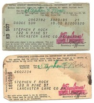 1935 Motor Vehicle Registration Chevrolet Sdn  & Driver's License Pennsy... - $3.99