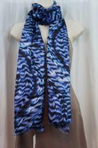 Calvin Klein Scarf Sz OS One Size Sapphire Blue Black Multi Silk Busines... - $29.62