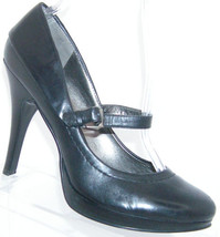 Bandolino 'Truda' black leather round toe buckle mary jane platform heel... - $28.66