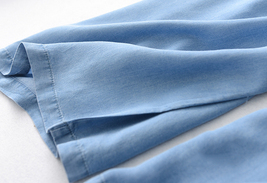 Light Blue Denim Crop PALAZZO PANTS TROUSERS Women Blue Loose Wide Leg Pants  image 11