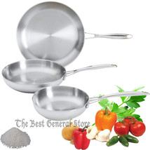 3pc T304 Mirror Finish Exterior Stainless Steel Frypan Frying Pan Set Sk... - $87.98