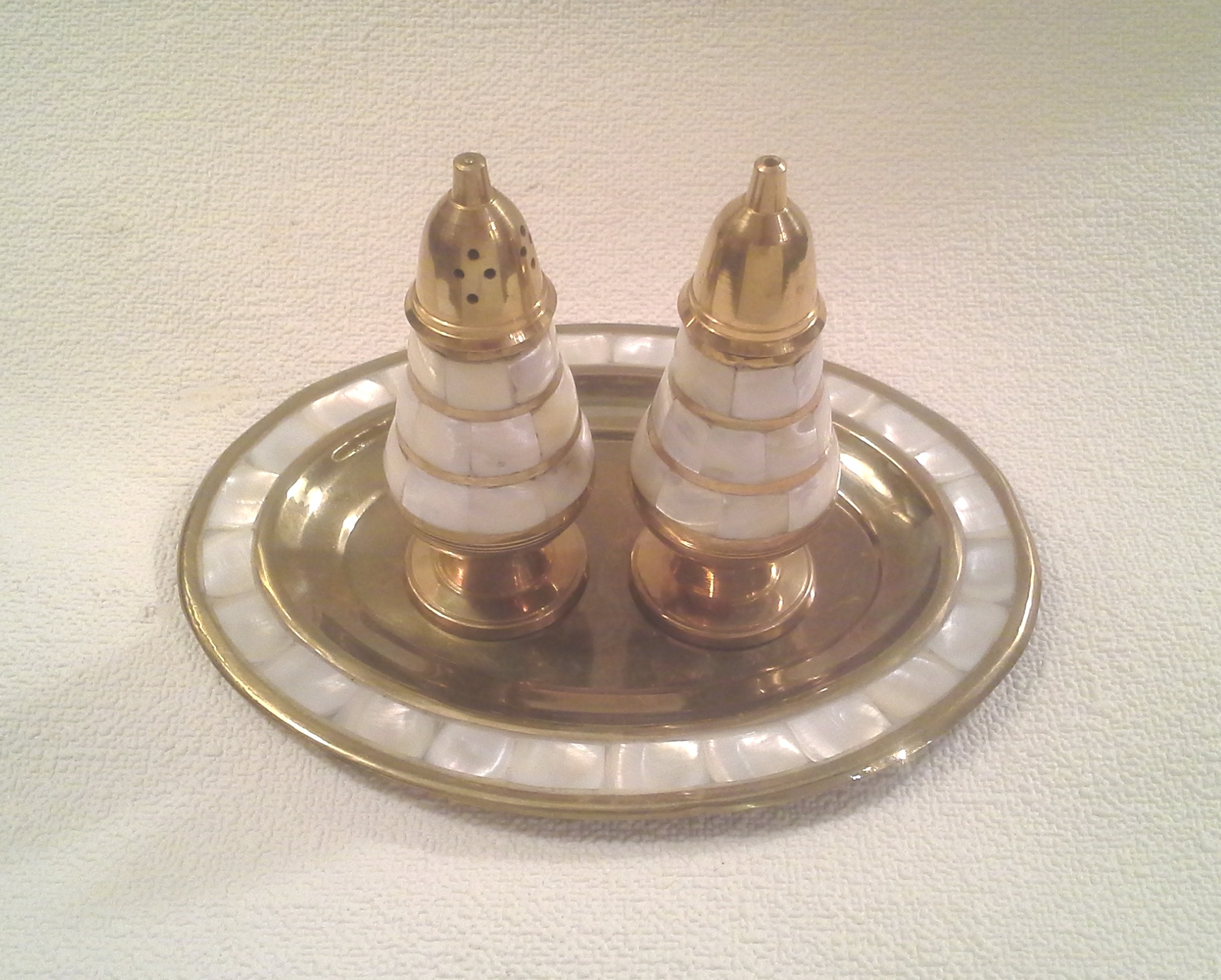 Vintage Brass Salt and Pepper Shaker and Tray  with Mother of Pearl Accents