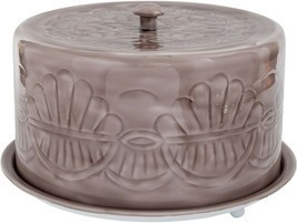 "13"" GREY EMBOSSED  METAL CAKE STAND WITH COVERED DOME LID - $78.16"