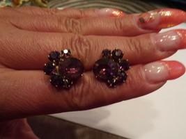 Vintage  Clip on Earrings With Purple Rhinestones Clusters - $10.00