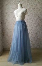 Womens Dusty Blue Tulle Skirt High Waist Dusty Blue Bridesmaid Tulle Skirt Long