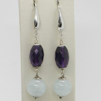 Earrings Silver 925 Rhodium Plated with Aquamarine & Amethyst Oval