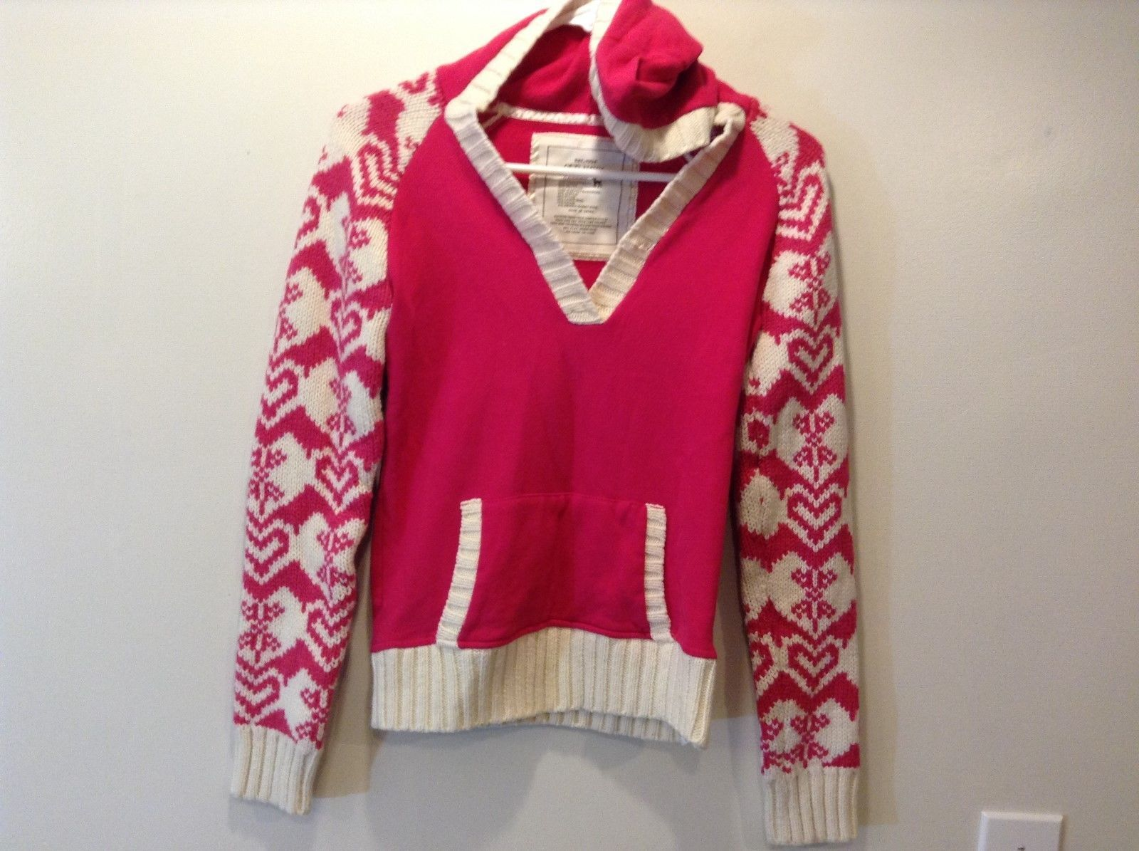 Old Navy Kids Pink/White Warm V-Neck Sweater Sz XL