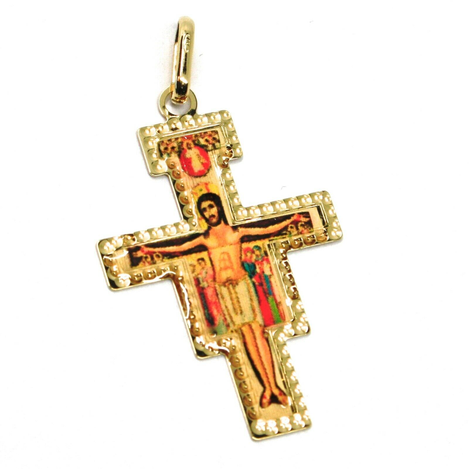 18K YELLOW GOLD FLAT SAINT DAMIANO CROSS PENDANT WITH WORKED FRAME & ENAMEL