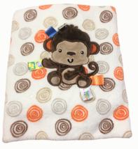 "Taggies Monkey Fleece Baby Blanket Swirls Spirals Lovey Satin Tags 30"" x... - $39.00"