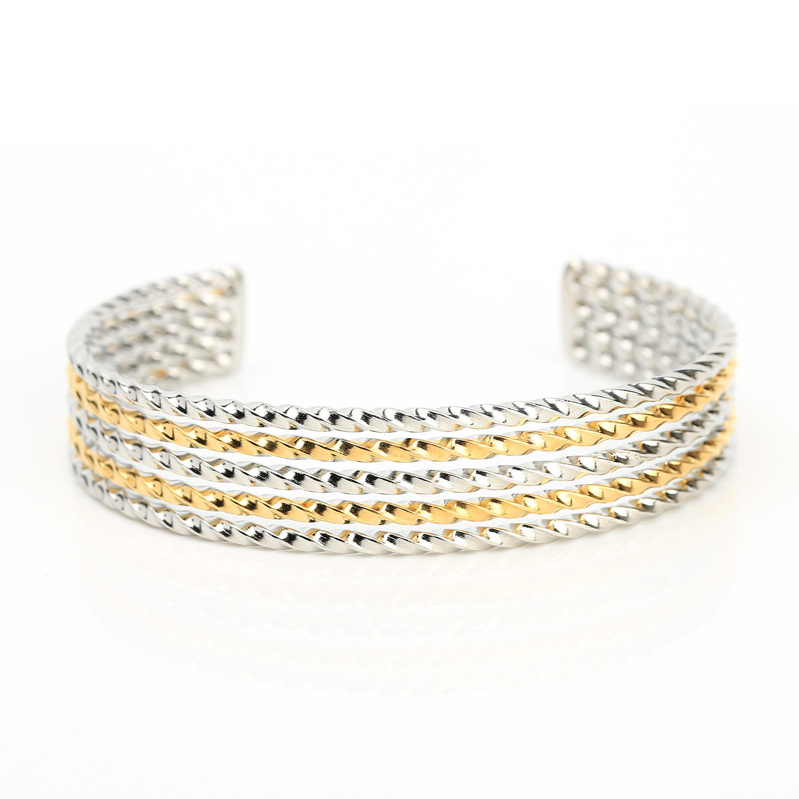 Gold & Silver Tone (Two-Tone) Twisted Bangle Bracelet Cuff- United Elegance
