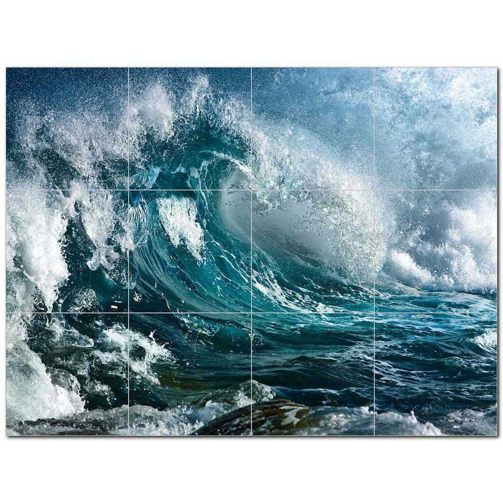 Primary image for Wave Picture Ceramic Tile Mural Kitchen Backsplash Bathroom Shower BAZ406312
