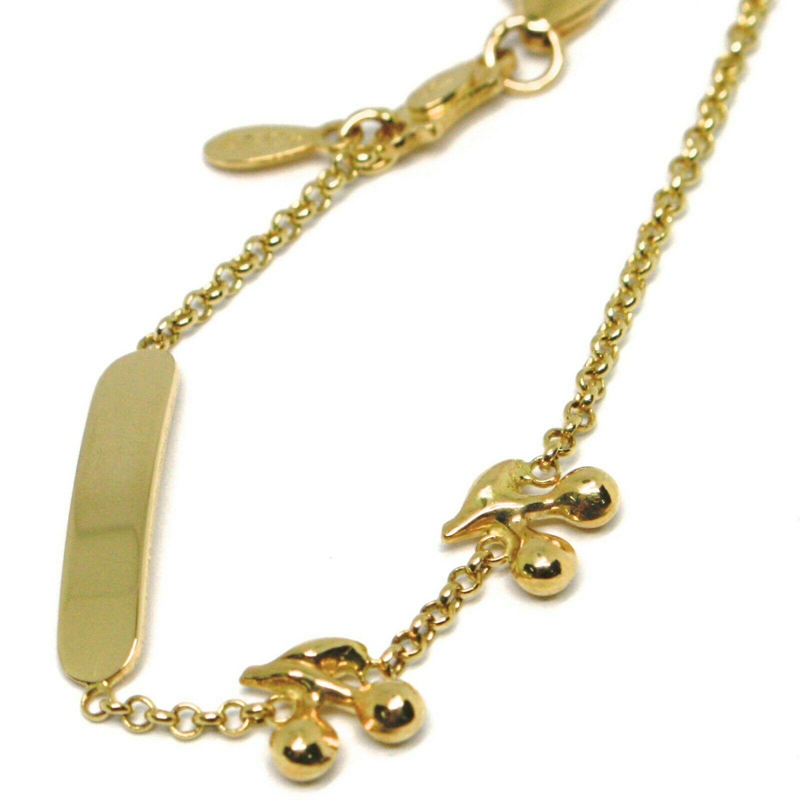 Bracelet Yellow Gold 18K 750, Girls, Plate, Cherries, Length 14 CM