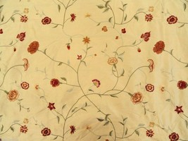 Onyx Age Drapery Fabric Embroidered Floral Silk Yellow - BTY - PX6 - $22.80