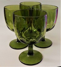 4 Bartlett Collins Thumbprint Avocado Green Glass Goblets Glasses Mid Ce... - $49.49