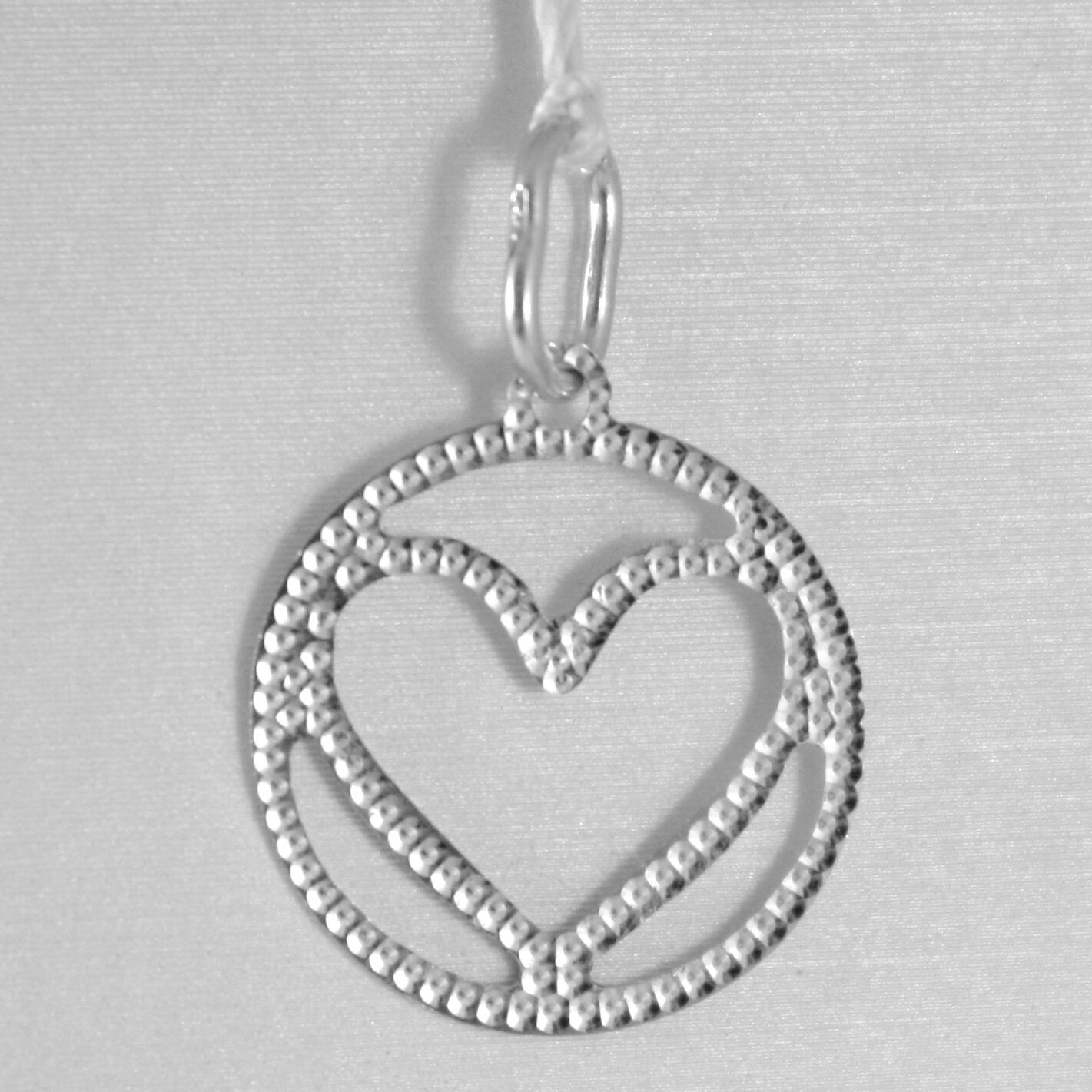 18K WHITE GOLD HEART PENDANT CHARM 22 MM FINELY WORKED, BRIGHT, MADE IN ITALY