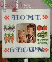 Vintage Counted Cross Stitch Kit Homegrown In the Garden Picture Frame  - $9.64