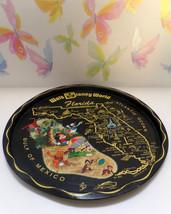 "Vintage Tin Souvenir Tray, Disney World Florida, Map of Florida, 11"" Fre... - $15.99"