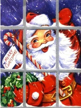 Santa at Window, Christmas, Candy Cane, Holly, Christmas art print, Sant... - $18.99