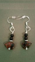 Vintage Small  Zuni  Bear Earrings earwire 925 Sliver Red Jasper Gift Ideal - $9.89