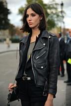 Genuine Lambskin Leather Slim Fit Motorcycle Zipper Jacket For Women G-D-41 - $159.00