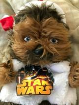 Disney Star Wars Stuffed Chewbacca  With Santa Hat Christmas Stocking Ne... - $19.79