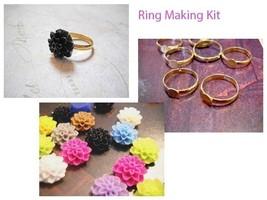 Ring Making Kit Ring Blanks Resin Flower Flatbacks Cabochons Makes 5 Rings - $4.24