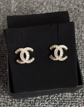 Authentic CHANEL 2017 FALL CRYSTAL CC Classic Signature Logo Stud Earrings Gold