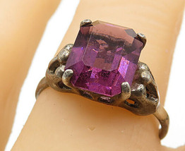 SARAH COVENTRY 925 Silver - Vintage Amethyst Crown Cocktail Ring Sz 7 - R8812 - $26.34