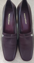 """Naturalizer Shoes Size 8M Brown Leather/Fabric 2.5"""" Heel Pumps Square Toe - $26.99"""