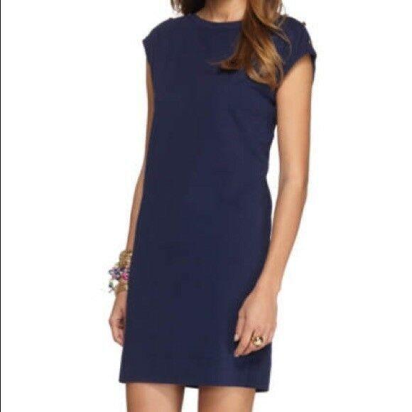 Lilly Pulitzer Sz M Robyn Sleeveless Shift Dress True Navy 6 Gold Buttons EUC