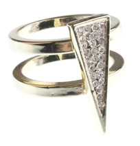 NEW Jules Smith 14K Gold Plated Cubic Zirconia Crystal Pavé Triangle Ring 6 NIB image 1