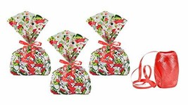 Christmas Goodie Bags - 24 Cellophane Treat Bags with Ribbon Ties - Elf ... - $22.80