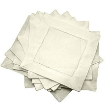 "Ecru Linen Hemstitched Cocktail Napkins- 1 Dozen 6"" X 6"" Cloth Napkin Co... - $25.13"