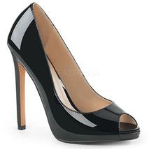 "PLEASER Sexy Black Patent 5"" High Heels Stiletto Pumps Peep Toe Shoes SE... - $49.95"
