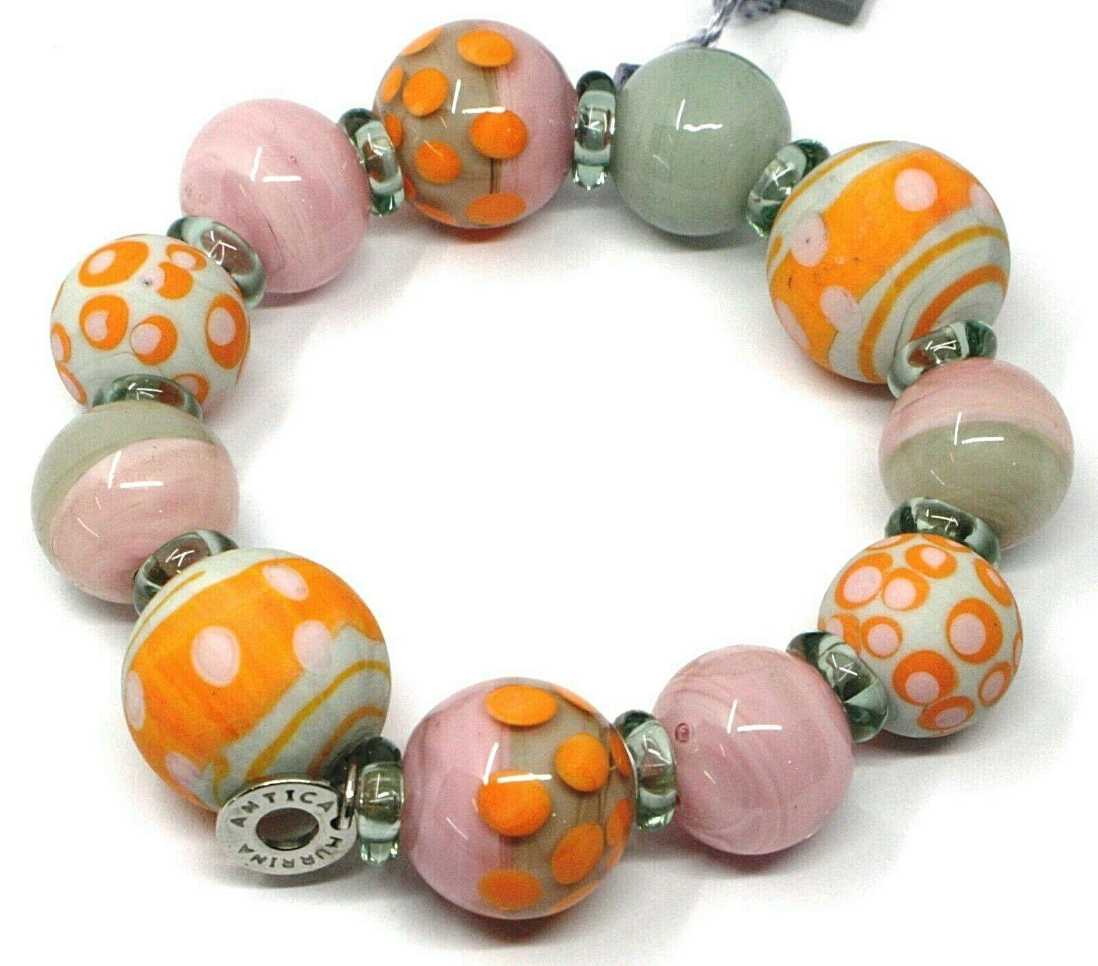 Bracelet Antica Murrina Venezia, BR717A25 Pink Orange, Ball Polka dot, Speckled
