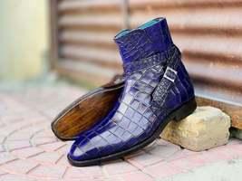 Handmade Men Blue Alligator Textured Leather Jodhpur Boots, men ankle hi... - £107.68 GBP+